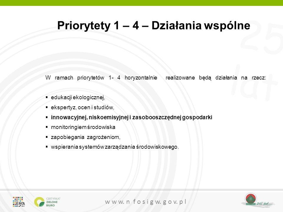 25 lat w w w. n f o s i g w. g o v. p l Priorytety 1 – 4 – Działania wspólne W ramach priorytetów 1- 4 horyzontalnie realizowane będą działania na rze