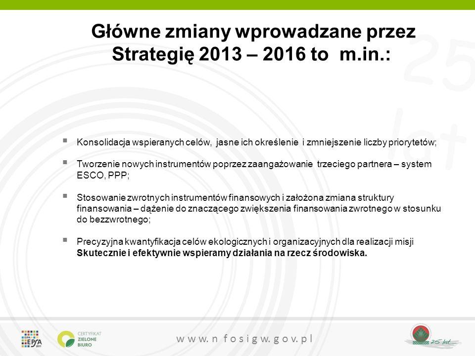 25 lat w w w. n f o s i g w. g o v. p l Główne zmiany wprowadzane przez Strategię 2013 – 2016 to m.in.:  Konsolidacja wspieranych celów, jasne ich ok