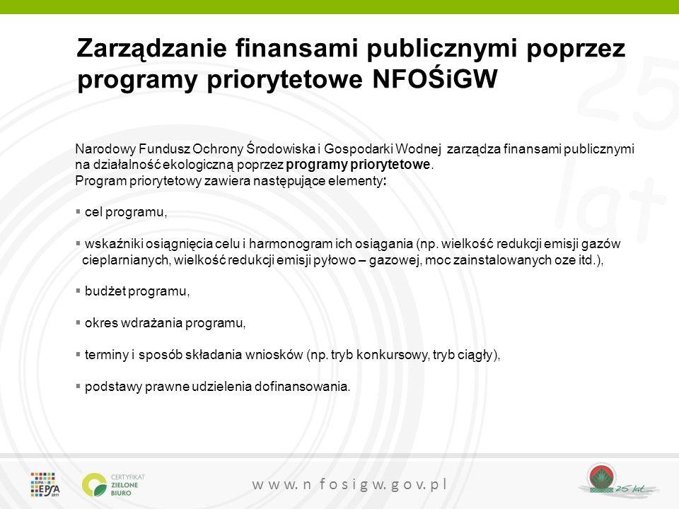 25 lat w w w. n f o s i g w. g o v. p l Zarządzanie finansami publicznymi poprzez programy priorytetowe NFOŚiGW Narodowy Fundusz Ochrony Środowiska i