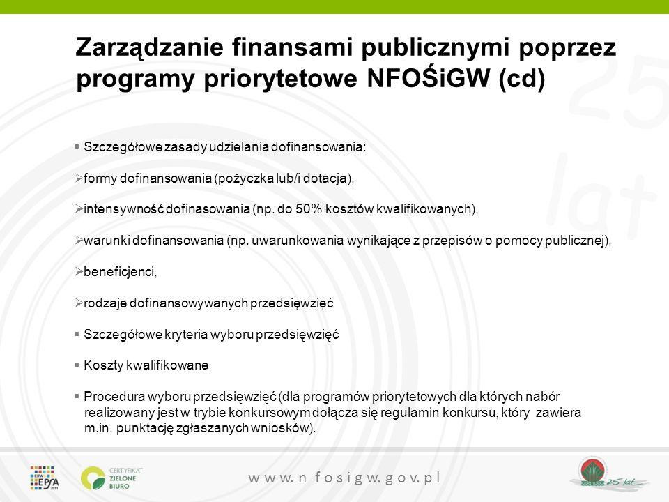 25 lat w w w. n f o s i g w. g o v. p l Zarządzanie finansami publicznymi poprzez programy priorytetowe NFOŚiGW (cd)  Szczegółowe zasady udzielania d