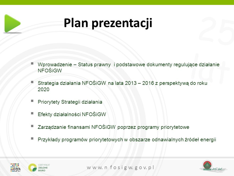 25 lat w w w. n f o s i g w. g o v. p l Plan prezentacji  Wprowadzenie – Status prawny i podstawowe dokumenty regulujące działanie NFOŚiGW  Strategi