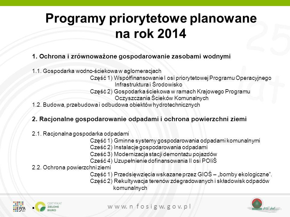 25 lat w w w. n f o s i g w. g o v. p l Programy priorytetowe planowane na rok 2014 1. Ochrona i zrównoważone gospodarowanie zasobami wodnymi 1.1. Gos