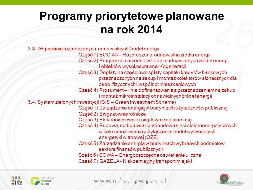 25 lat w w w. n f o s i g w. g o v. p l Programy priorytetowe planowane na rok 2014 3.3. Wspieranie rozproszonych, odnawialnych źródeł energii Część 1