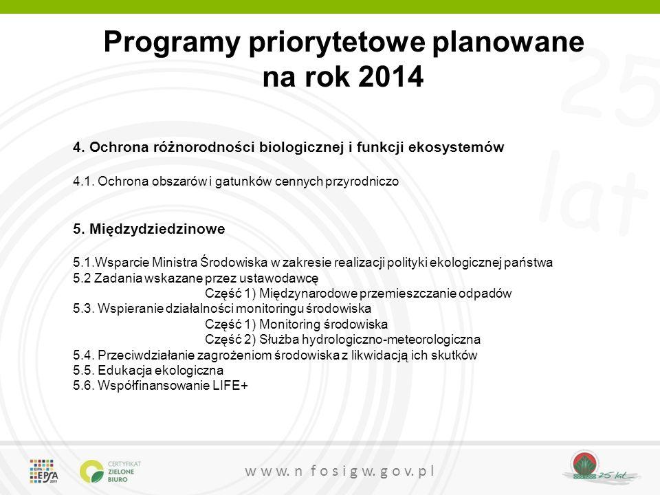 25 lat w w w. n f o s i g w. g o v. p l Programy priorytetowe planowane na rok 2014 4. Ochrona różnorodności biologicznej i funkcji ekosystemów 4.1. O