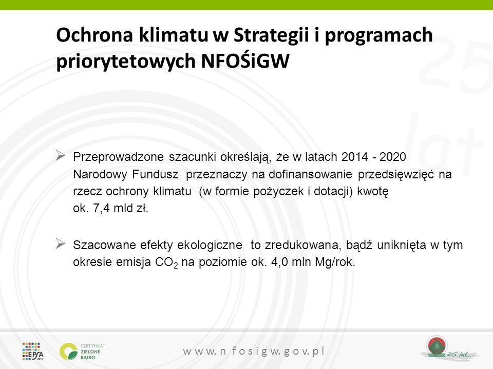 25 lat w w w. n f o s i g w. g o v. p l Ochrona klimatu w Strategii i programach priorytetowych NFOŚiGW  Przeprowadzone szacunki określają, że w lata