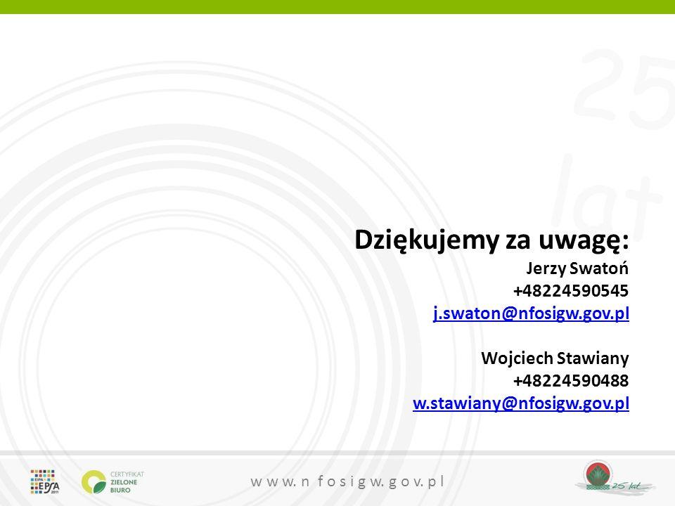 25 lat w w w. n f o s i g w. g o v. p l Dziękujemy za uwagę: Jerzy Swatoń +48224590545 j.swaton@nfosigw.gov.pl j.swaton@nfosigw.gov.pl Wojciech Stawia