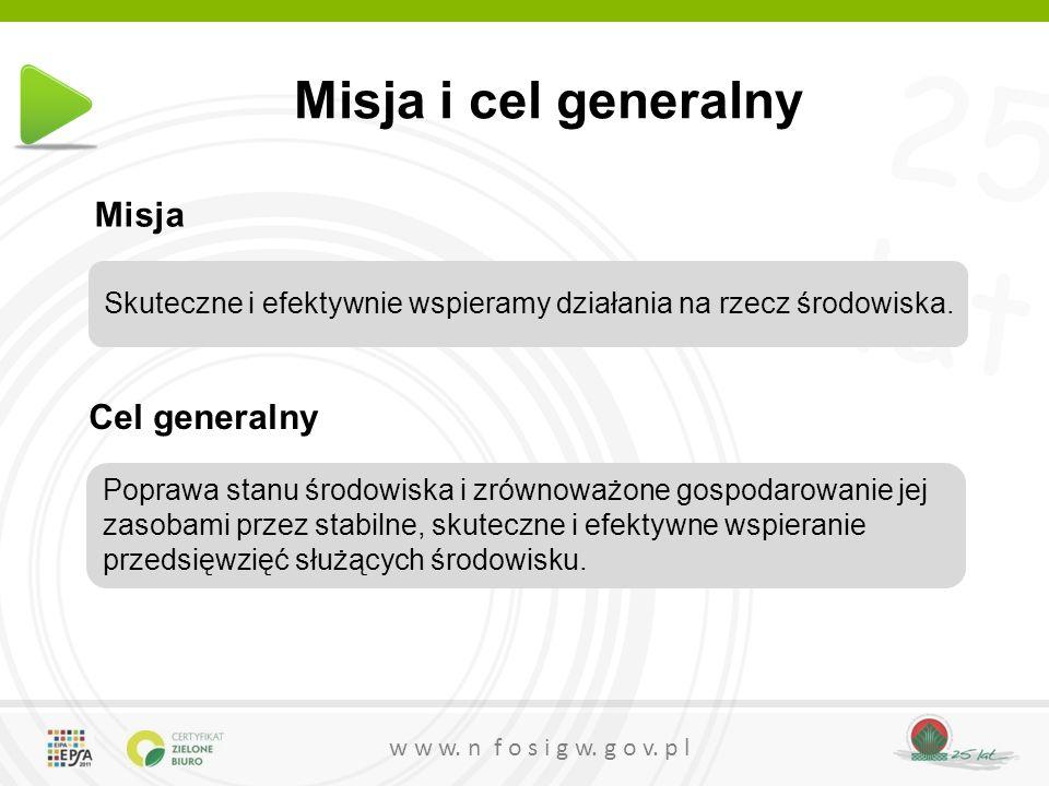 25 lat w w w. n f o s i g w. g o v. p l Misja i cel generalny Poprawa stanu środowiska i zrównoważone gospodarowanie jej zasobami przez stabilne, skut