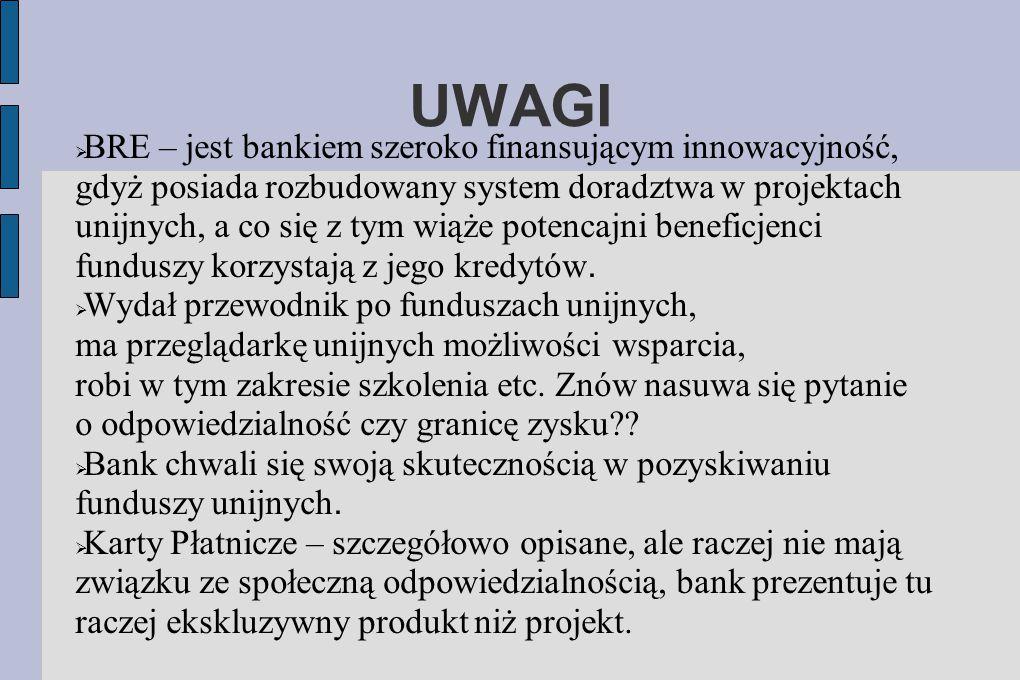UWAGI  BRE – jest bankiem szeroko finansującym innowacyjność, gdyż posiada rozbudowany system doradztwa w projektach unijnych, a co się z tym wiąże p
