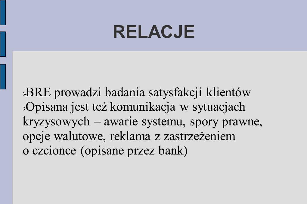 RELACJE  BRE prowadzi badania satysfakcji klientów  Opisana jest też komunikacja w sytuacjach kryzysowych – awarie systemu, spory prawne, opcje walu