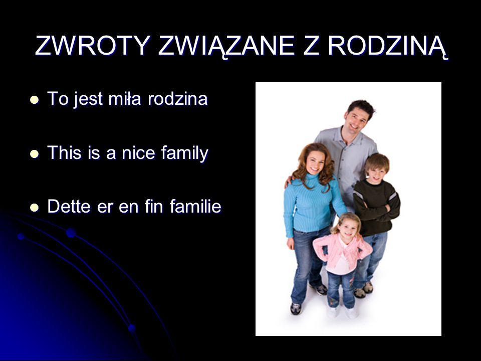 ZWROTY ZWIĄZANE Z RODZINĄ To jest miła rodzina To jest miła rodzina This is a nice family This is a nice family Dette er en fin familie Dette er en fi