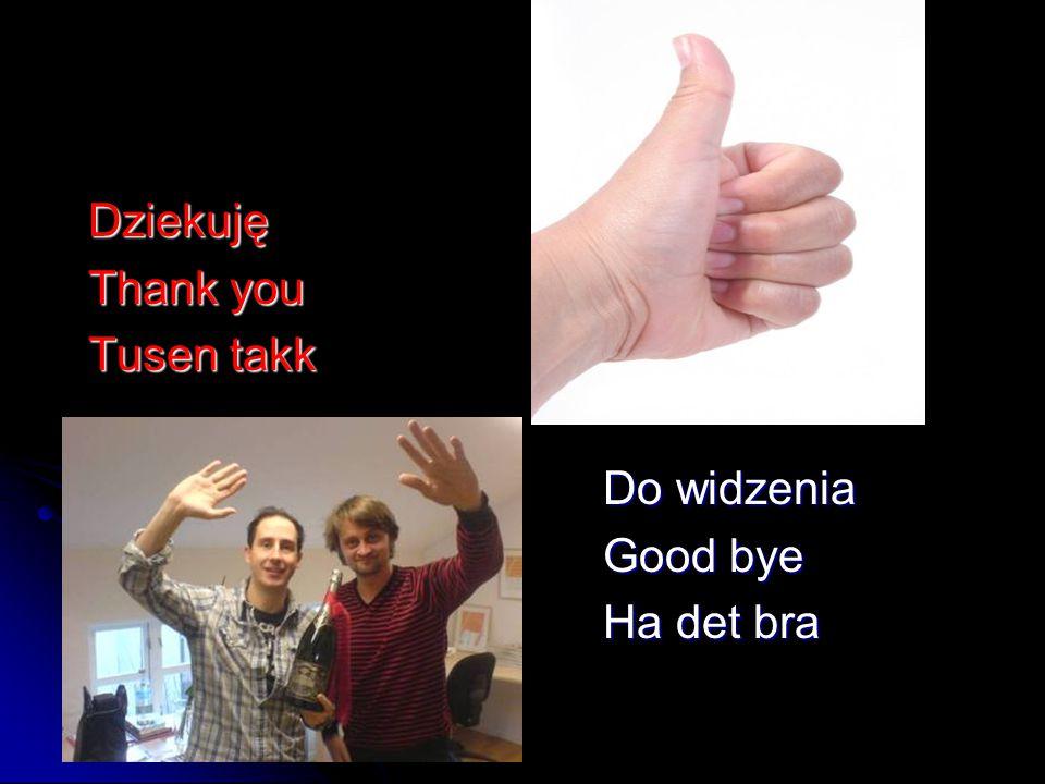 Dziekuję Dziekuję Thank you Thank you Tusen takk Tusen takk Do widzenia Do widzenia Good bye Good bye Ha det bra Ha det bra