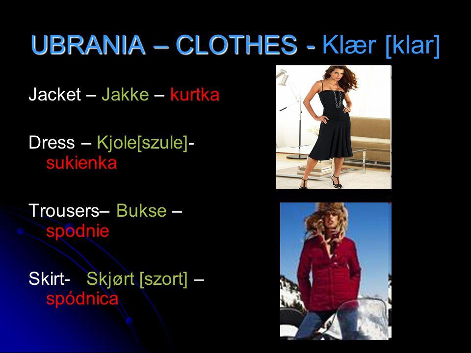 UBRANIA – CLOTHES - UBRANIA – CLOTHES - Klær [klar] Jacket – Jakke – kurtka Dress – Kjole[szule]- sukienka Trousers– Bukse – spodnie Skirt- Skjørt [sz