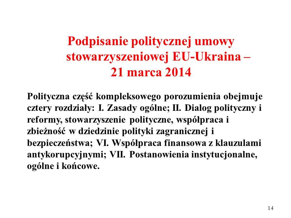 13 Podpisanie politycznej umowy stowarzyszeniowej EU-Ukraina – 21 marca 20124 Polityczna część kompleksowego porozumienia obejmuje cztery rozdziały: I.