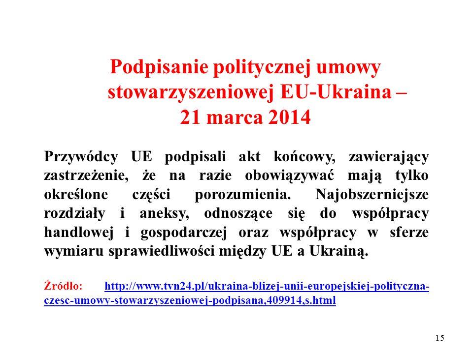 14 Podpisanie politycznej umowy stowarzyszeniowej EU-Ukraina – 21 marca 2014 Polityczna część kompleksowego porozumienia obejmuje cztery rozdziały: I.