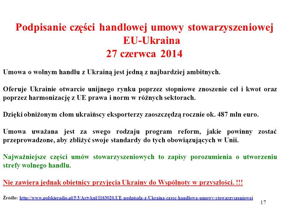 16 Podpisanie części handlowej umowy stowarzyszeniowej EU-Ukraina 27 czerwca 2014 Część gospodarcza umowy stowarzyszeniowej UE-Ukraina została podpisana na szczycie Unii Europejskiej w Brukseli.