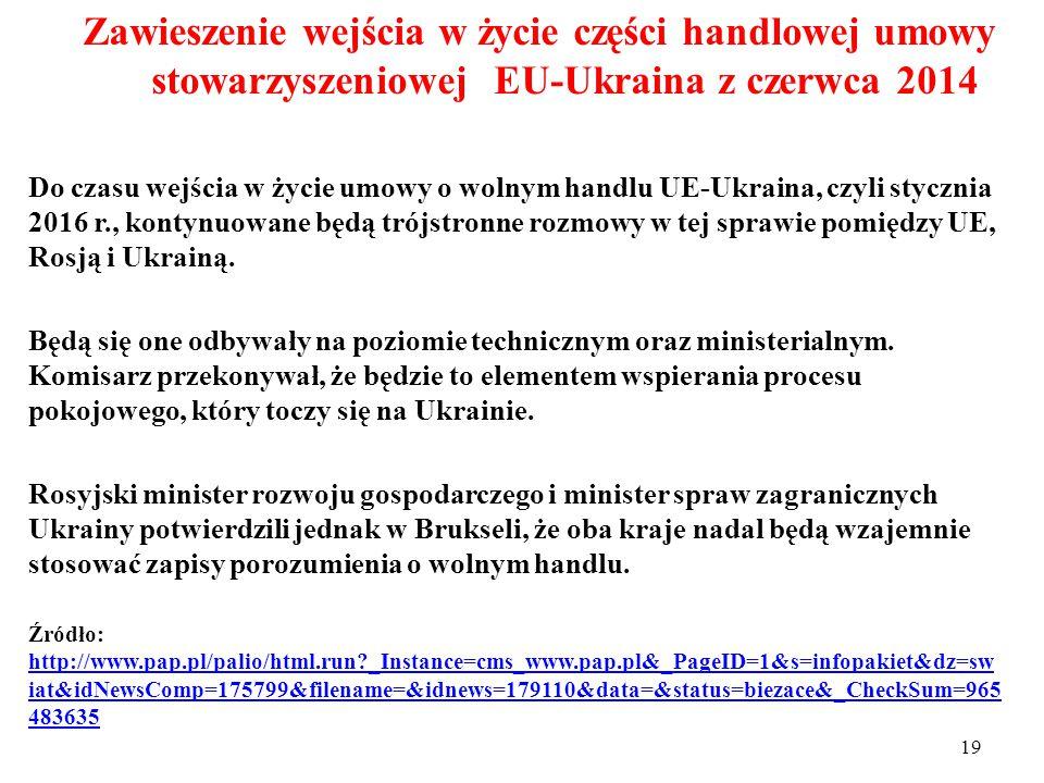 18 Zawieszenie wejścia w życie części handlowej umowy stowarzyszeniowej EU-Ukraina z czerwca 2014 12 września 2014r.