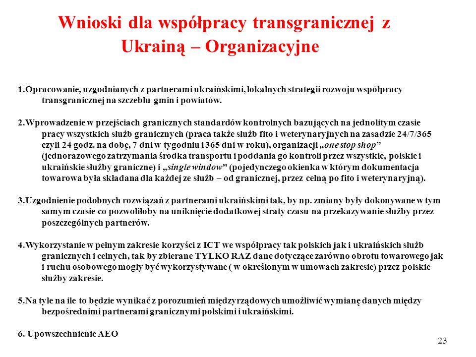 22 Wnioski dla współpracy transgranicznej z Ukrainą: Infrastrukturalne 1.Dokończenie, w porozumieniu z partnerami ukraińskimi, przebudowy istniejących przejść granicznych, z uwzględnieniem infrastruktury łączności i komunikacji pozwalających na wykorzystywanie ICT (Information and Communication Technologies – Technologii informatycznych i komunikacyjnych).
