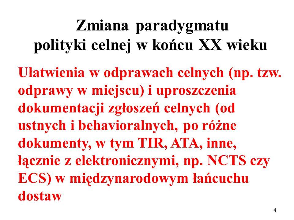 3 Tradycyjny paradygmat polityki celnej Pobór ceł i innych danim publicznych (myt i innych opłat np.