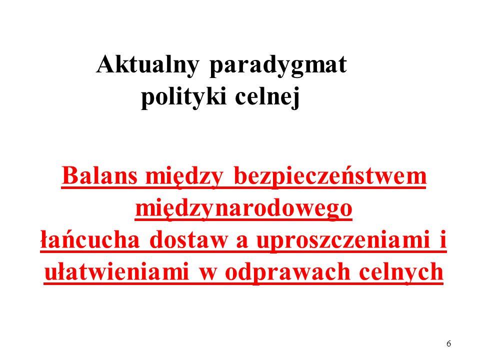 5 Nowy ( w początkach XXI w., po 11 września 2001) paradygmat polityki celnej Bezpieczeństwo międzynarodowego łańcucha dostaw !!!
