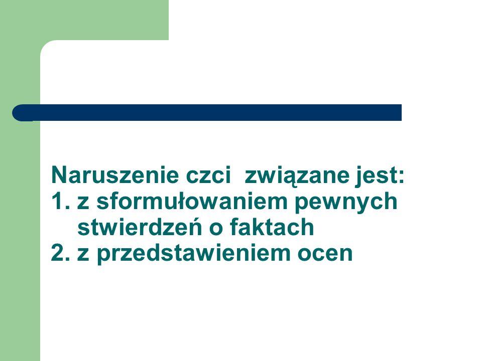 Naruszenie czci związane jest: 1. z sformułowaniem pewnych stwierdzeń o faktach 2. z przedstawieniem ocen
