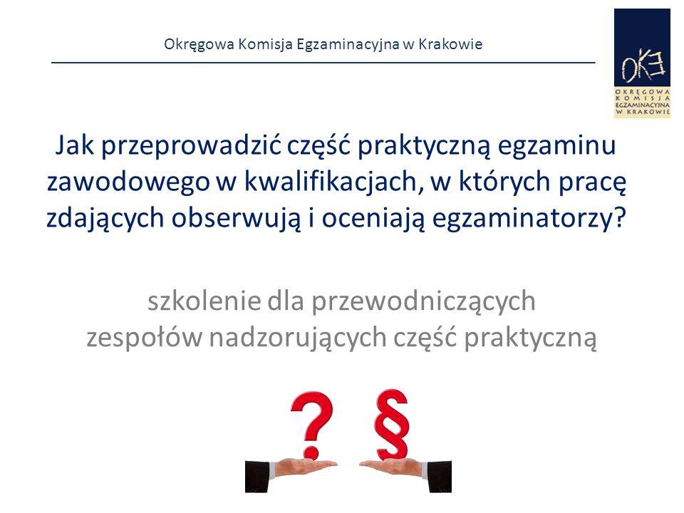 Okręgowa Komisja Egzaminacyjna w Krakowie Jak przeprowadzić część praktyczną egzaminu zawodowego w kwalifikacjach, w których pracę zdających obserwują i oceniają egzaminatorzy.