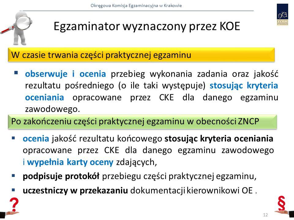 Okręgowa Komisja Egzaminacyjna w Krakowie  obserwuje i ocenia przebieg wykonania zadania oraz jakość rezultatu pośredniego (o ile taki występuje) stosując kryteria oceniania opracowane przez CKE dla danego egzaminu zawodowego.
