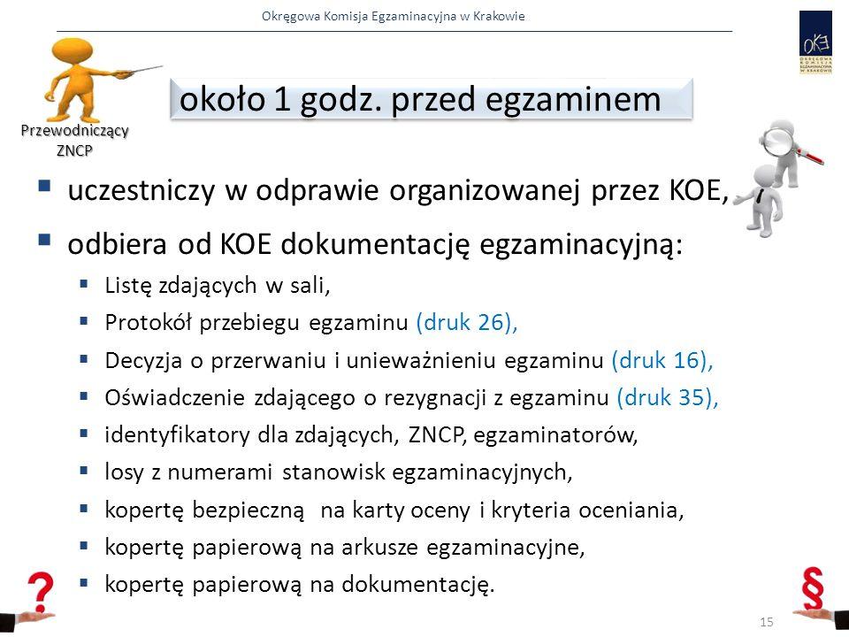 Okręgowa Komisja Egzaminacyjna w Krakowie  uczestniczy w odprawie organizowanej przez KOE,  odbiera od KOE dokumentację egzaminacyjną:  Listę zdających w sali,  Protokół przebiegu egzaminu (druk 26),  Decyzja o przerwaniu i unieważnieniu egzaminu (druk 16),  Oświadczenie zdającego o rezygnacji z egzaminu (druk 35),  identyfikatory dla zdających, ZNCP, egzaminatorów,  losy z numerami stanowisk egzaminacyjnych,  kopertę bezpieczną na karty oceny i kryteria oceniania,  kopertę papierową na arkusze egzaminacyjne,  kopertę papierową na dokumentację.