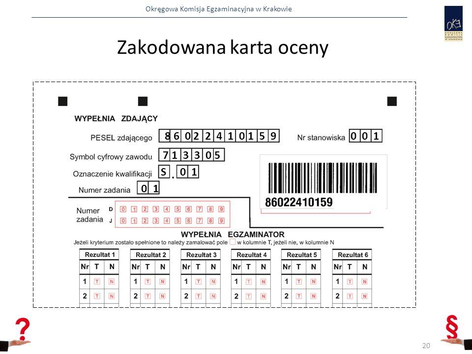 Okręgowa Komisja Egzaminacyjna w Krakowie Zakodowana karta oceny 8 6 0 2 2 4 1 0 1 5 90 0 1 7 1 3 3 0 5 S 0 1 0 1 20