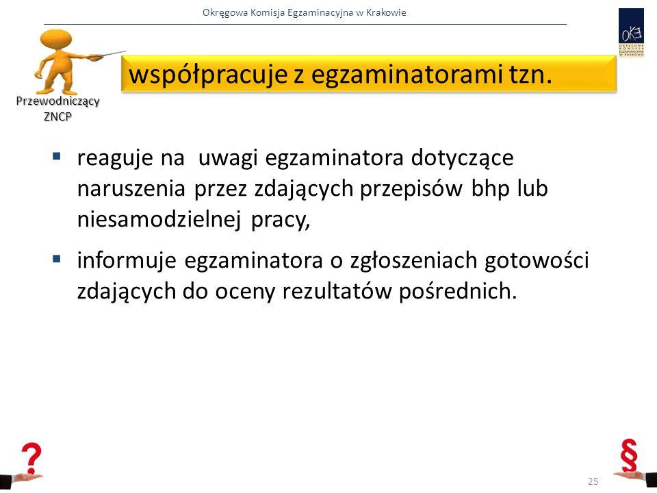 Okręgowa Komisja Egzaminacyjna w Krakowie  reaguje na uwagi egzaminatora dotyczące naruszenia przez zdających przepisów bhp lub niesamodzielnej pracy,  informuje egzaminatora o zgłoszeniach gotowości zdających do oceny rezultatów pośrednich.