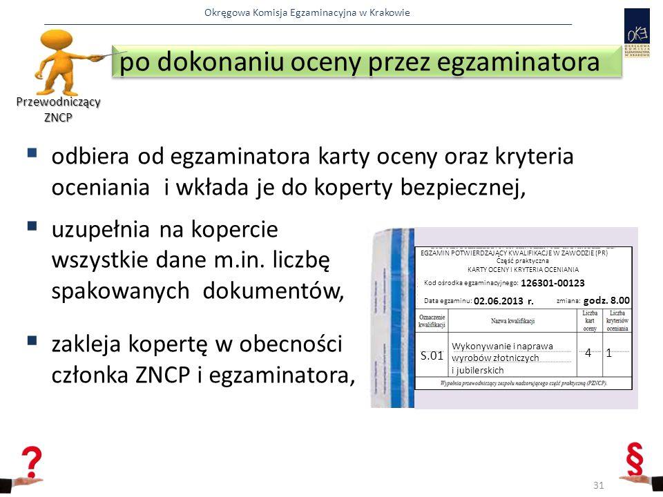 Okręgowa Komisja Egzaminacyjna w Krakowie  odbiera od egzaminatora karty oceny oraz kryteria oceniania i wkłada je do koperty bezpiecznej,  uzupełnia na kopercie wszystkie dane m.in.