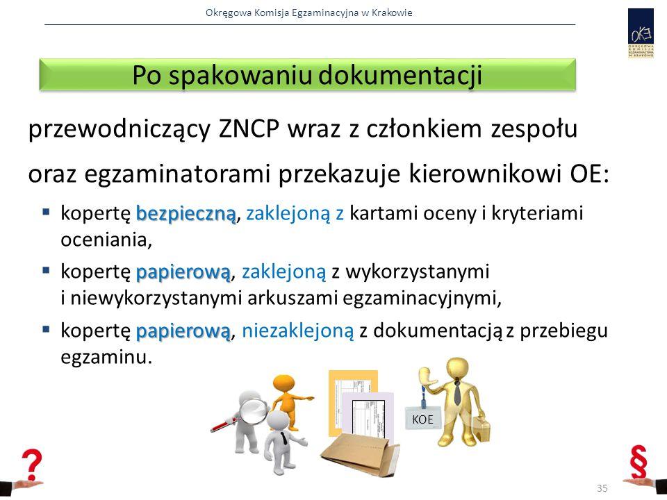 Okręgowa Komisja Egzaminacyjna w Krakowie przewodniczący ZNCP wraz z członkiem zespołu oraz egzaminatorami przekazuje kierownikowi OE: bezpieczną  kopertę bezpieczną, zaklejoną z kartami oceny i kryteriami oceniania, papierową  kopertę papierową, zaklejoną z wykorzystanymi i niewykorzystanymi arkuszami egzaminacyjnymi, papierową  kopertę papierową, niezaklejoną z dokumentacją z przebiegu egzaminu.