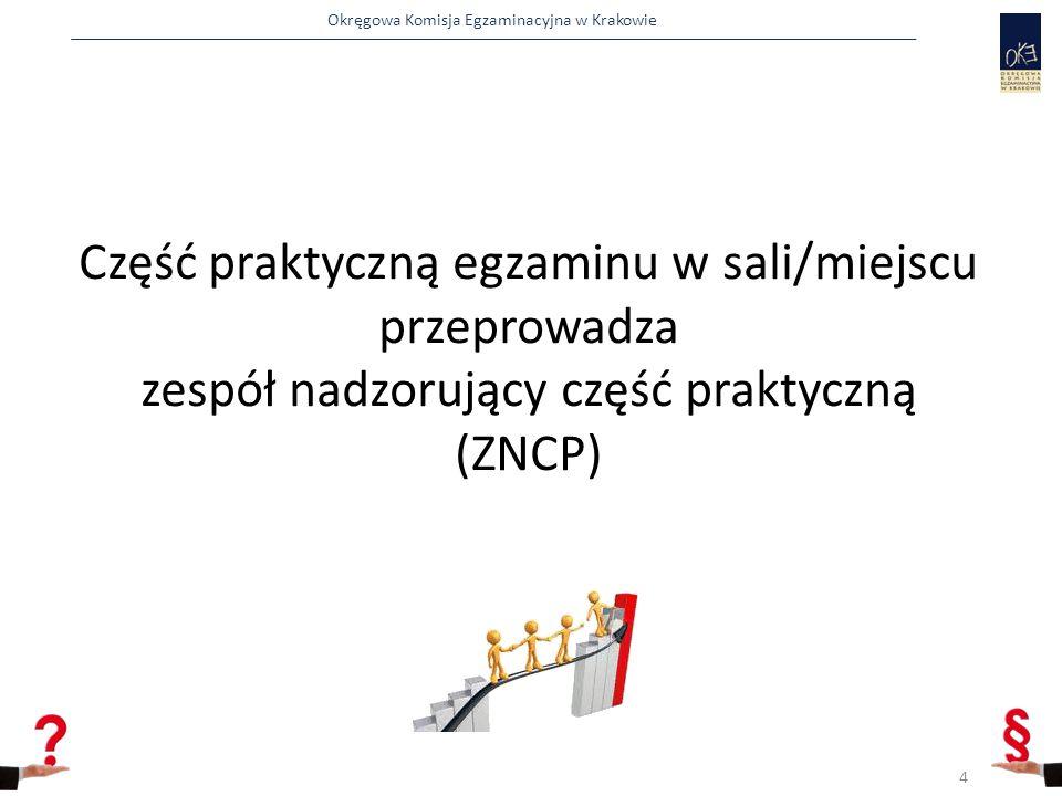 Okręgowa Komisja Egzaminacyjna w Krakowie Część praktyczną egzaminu w sali/miejscu przeprowadza zespół nadzorujący część praktyczną (ZNCP) 4