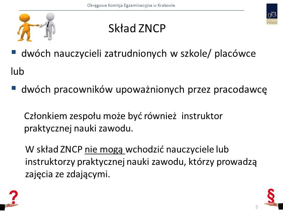 Okręgowa Komisja Egzaminacyjna w Krakowie Skład ZNCP  dwóch nauczycieli zatrudnionych w szkole/ placówce lub  dwóch pracowników upoważnionych przez pracodawcę Członkiem zespołu może być również instruktor praktycznej nauki zawodu.