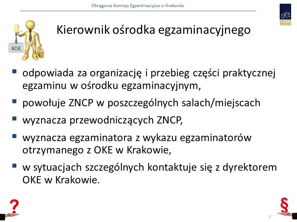 Okręgowa Komisja Egzaminacyjna w Krakowie Kierownik ośrodka egzaminacyjnego  odpowiada za organizację i przebieg części praktycznej egzaminu w ośrodku egzaminacyjnym,  powołuje ZNCP w poszczególnych salach/miejscach  wyznacza przewodniczących ZNCP,  wyznacza egzaminatora z wykazu egzaminatorów otrzymanego z OKE w Krakowie,  w sytuacjach szczególnych kontaktuje się z dyrektorem OKE w Krakowie.
