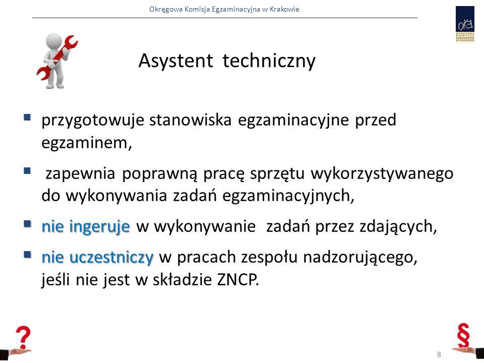Okręgowa Komisja Egzaminacyjna w Krakowie  przygotowuje stanowiska egzaminacyjne przed egzaminem,  zapewnia poprawną pracę sprzętu wykorzystywanego do wykonywania zadań egzaminacyjnych,  nie ingeruje  nie ingeruje w wykonywanie zadań przez zdających,  nie uczestniczy  nie uczestniczy w pracach zespołu nadzorującego, jeśli nie jest w składzie ZNCP.