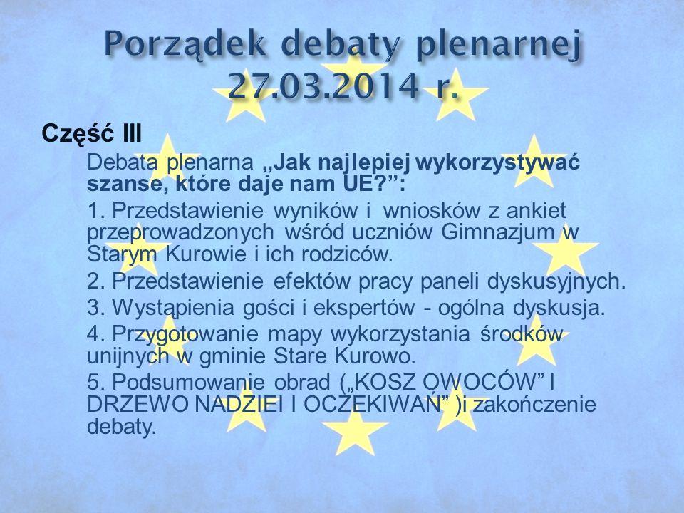 """Część III Debata plenarna """"Jak najlepiej wykorzystywać szanse, które daje nam UE : 1."""