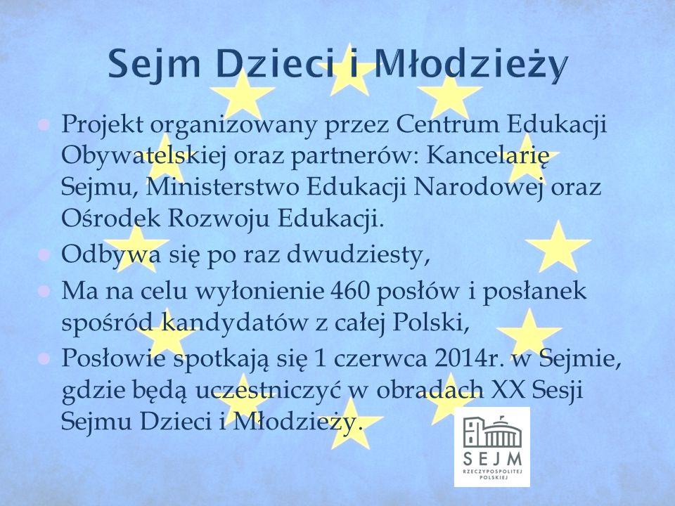 Projekt organizowany przez Centrum Edukacji Obywatelskiej oraz partnerów: Kancelarię Sejmu, Ministerstwo Edukacji Narodowej oraz Ośrodek Rozwoju Edukacji.