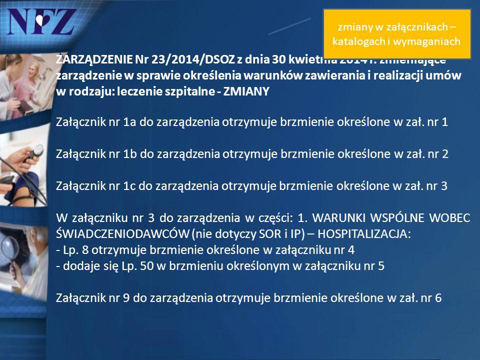 ZARZĄDZENIE Nr 23/2014/DSOZ z dnia 30 kwietnia 2014 r. zmieniające zarządzenie w sprawie określenia warunków zawierania i realizacji umów w rodzaju: l