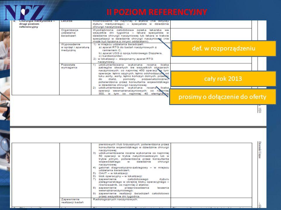 II POZIOM REFERENCYJNY def. w rozporządzeniu cały rok 2013 prosimy o dołączenie do oferty