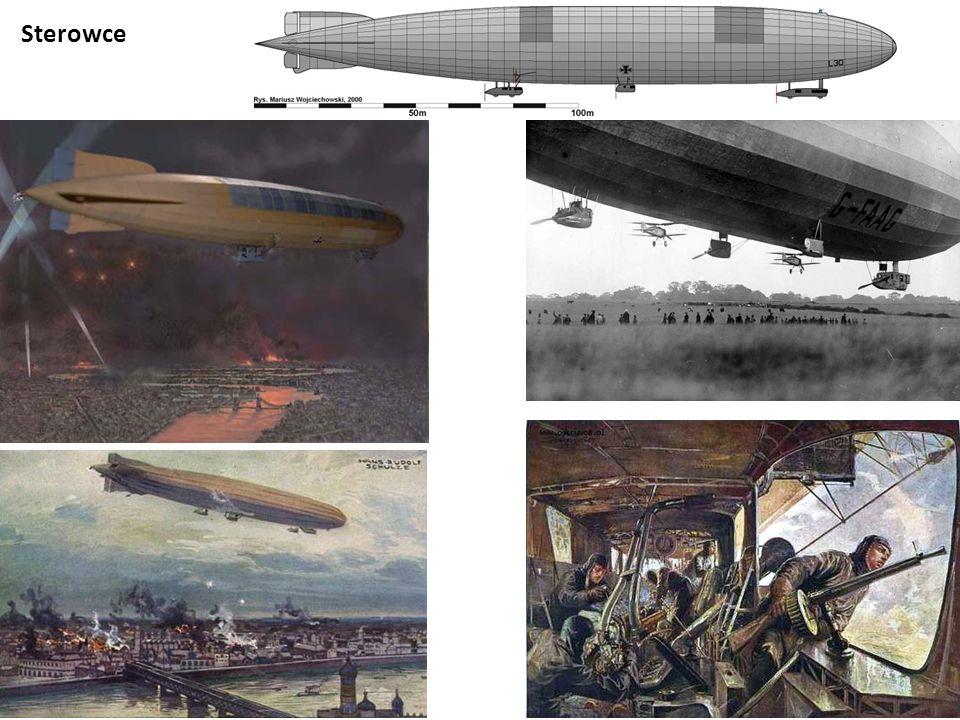 Brytyjskie balony zaporowe nad Londynem Obrona przeciwlotnicza Karabin maszynowy Niemieckie działo przeciwlotnicze Reflektor przeciwlotniczy