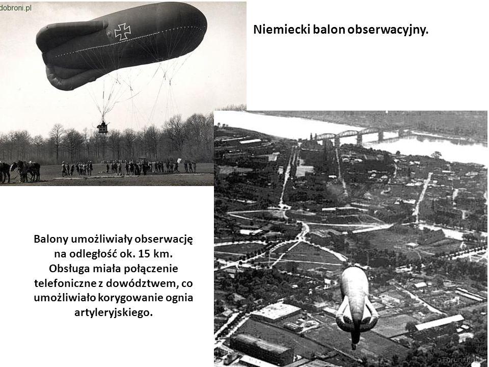 Balony umożliwiały obserwację na odległość ok. 15 km. Obsługa miała połączenie telefoniczne z dowództwem, co umożliwiało korygowanie ognia artyleryjsk