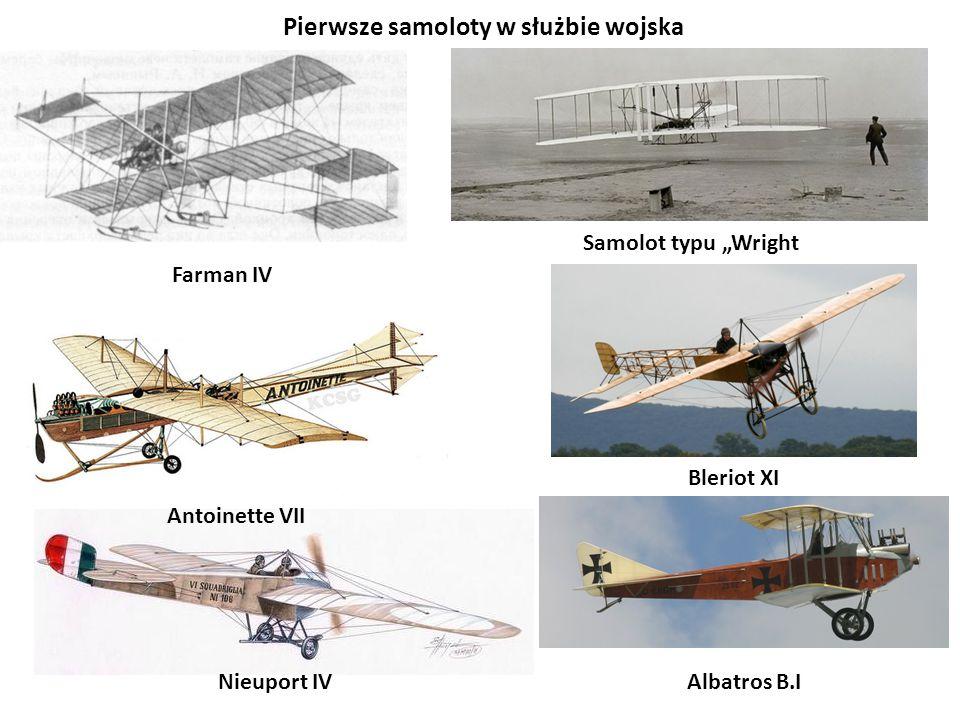 """Farman IV Nieuport IV Bleriot XI Samolot typu """"Wright Pierwsze samoloty w służbie wojska Antoinette VII Albatros B.I"""