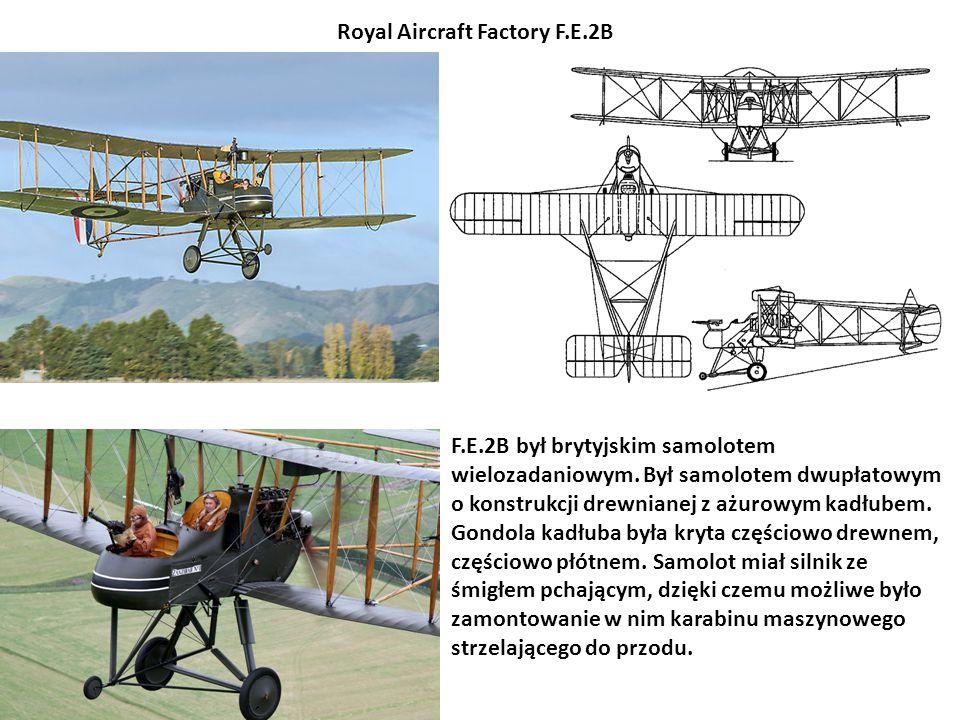 F.E.2B był brytyjskim samolotem wielozadaniowym. Był samolotem dwupłatowym o konstrukcji drewnianej z ażurowym kadłubem. Gondola kadłuba była kryta cz