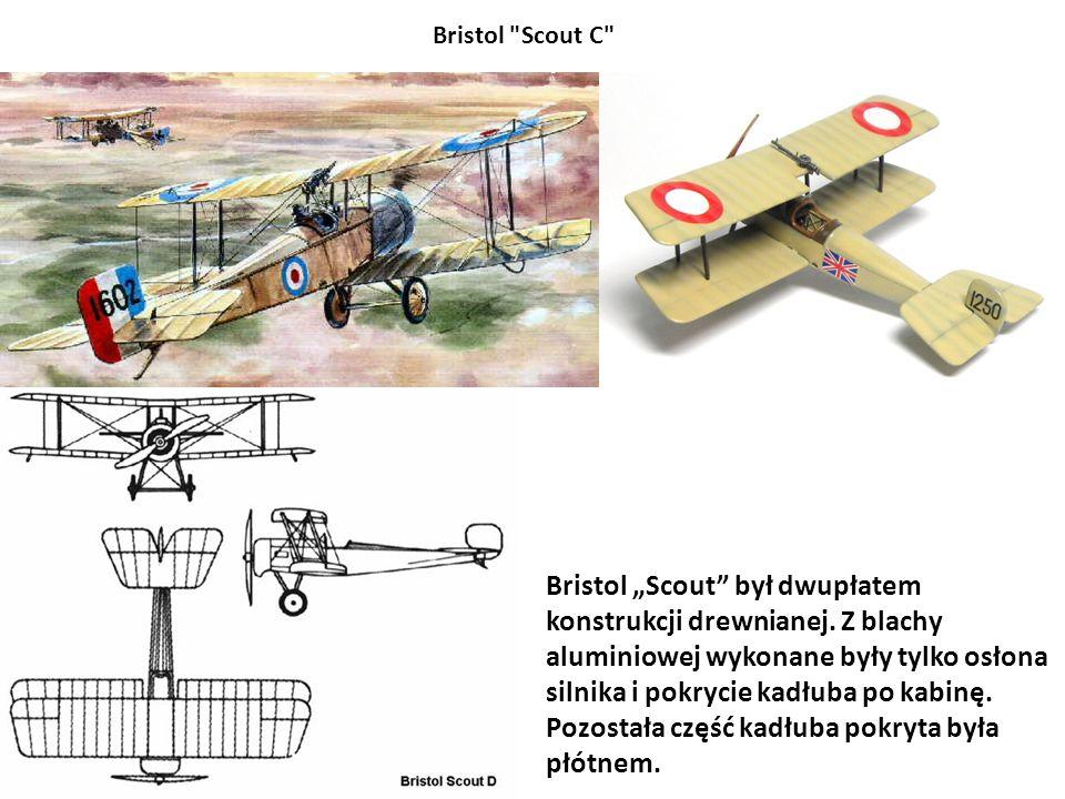 """Bristol """"Scout"""" był dwupłatem konstrukcji drewnianej. Z blachy aluminiowej wykonane były tylko osłona silnika i pokrycie kadłuba po kabinę. Pozostała"""