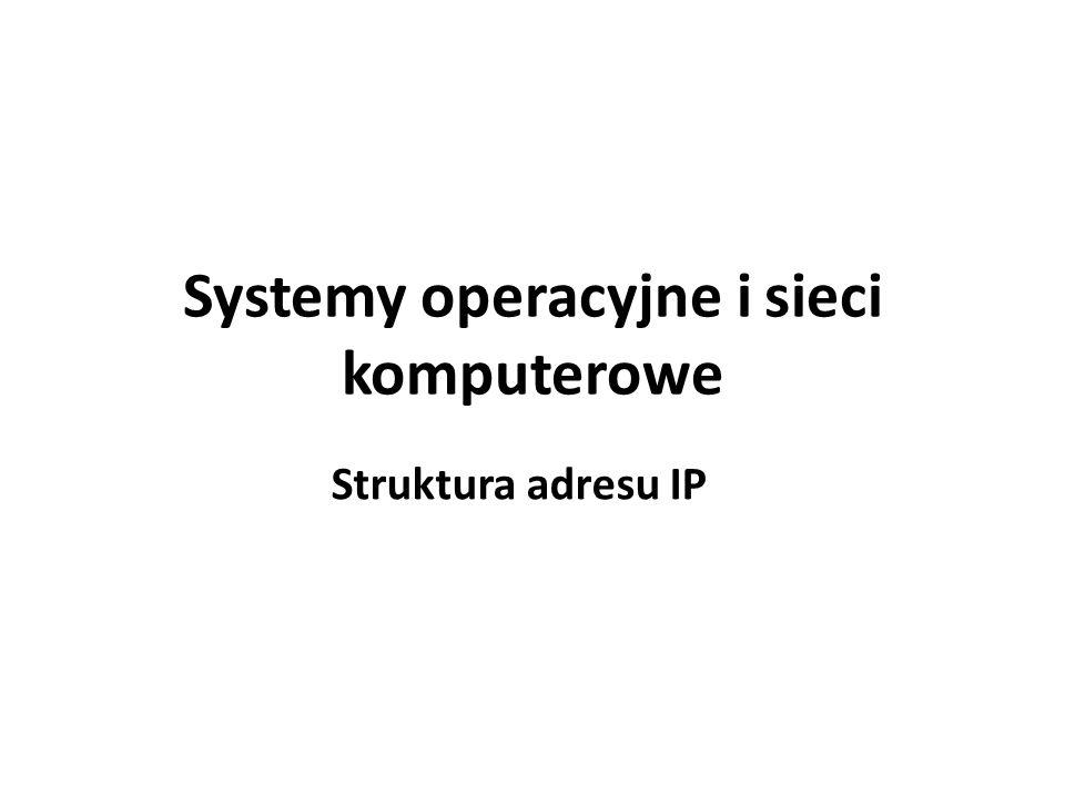 Systemy operacyjne i sieci komputerowe Struktura adresu IP