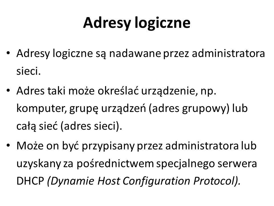 Adresy logiczne Adresy logiczne są nadawane przez administratora sieci. Adres taki może określać urządzenie, np. komputer, grupę urządzeń (adres grupo