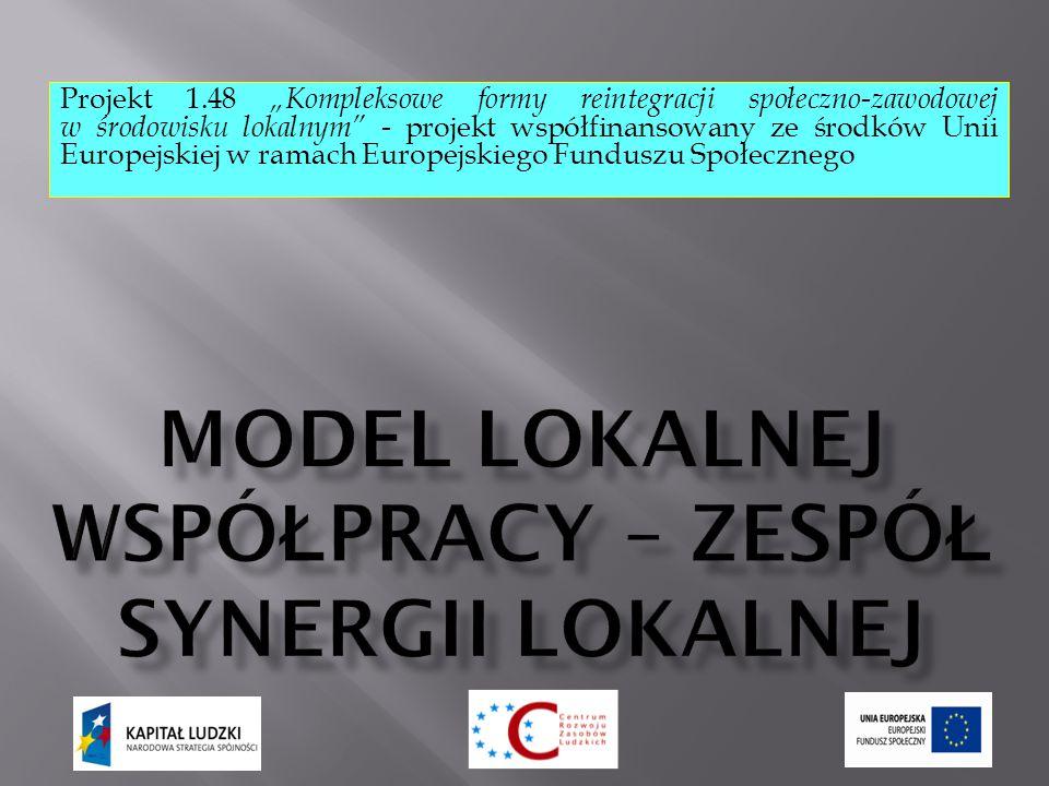 """Projekt 1.48 """"Kompleksowe formy reintegracji społeczno-zawodowej w środowisku lokalnym - projekt współfinansowany ze środków Unii Europejskiej w ramach Europejskiego Funduszu Społecznego"""