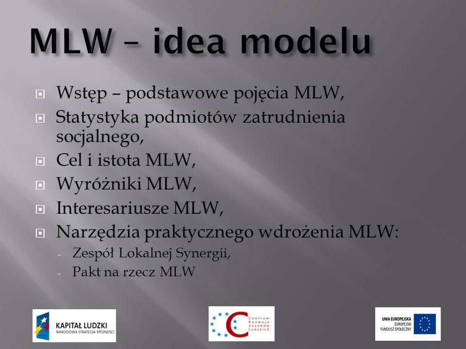  Wstęp – podstawowe pojęcia MLW,  Statystyka podmiotów zatrudnienia socjalnego,  Cel i istota MLW,  Wyróżniki MLW,  Interesariusze MLW,  Narzędzia praktycznego wdrożenia MLW: - Zespół Lokalnej Synergii, - Pakt na rzecz MLW