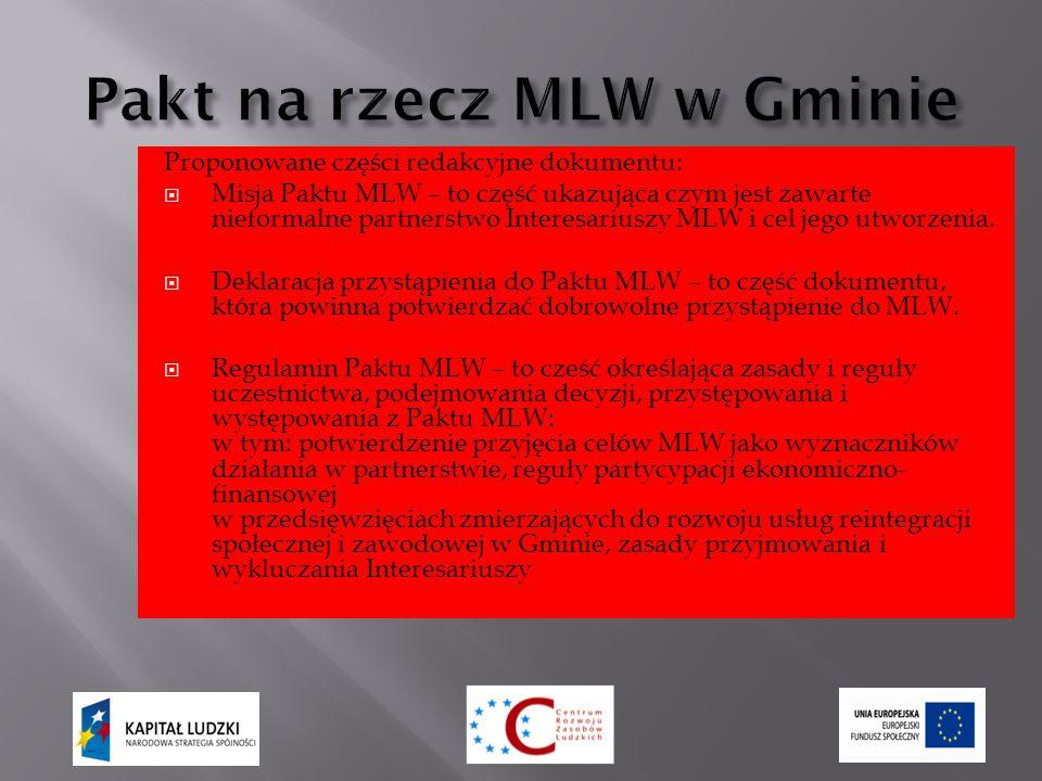 Proponowane części redakcyjne dokumentu:  Misja Paktu MLW – to część ukazująca czym jest zawarte nieformalne partnerstwo Interesariuszy MLW i cel jego utworzenia.