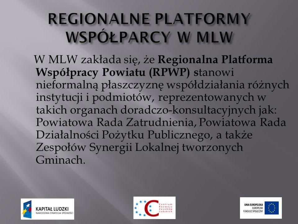 W MLW zakłada się, że Regionalna Platforma Współpracy Powiatu (RPWP) s tanowi nieformalną płaszczyznę współdziałania różnych instytucji i podmiotów, reprezentowanych w takich organach doradczo-konsultacyjnych jak: Powiatowa Rada Zatrudnienia, Powiatowa Rada Działalności Pożytku Publicznego, a także Zespołów Synergii Lokalnej tworzonych Gminach.